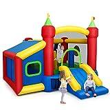 COSTWAY Castillo Hinchable para Niños 380 x 305 x 215 cm Infantil Castillo Inflable con Tobogán Sin Soplador