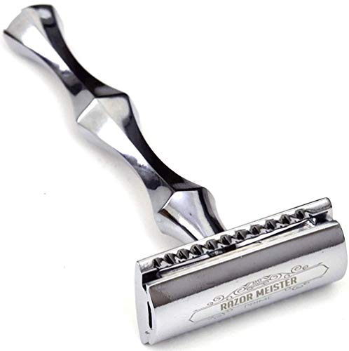 Safety Razor ~ Double edge Safety razor ~ 50 Safety Razor Blades - RAZOR MEISTER PRIME Safety Razor shaving Kit For Men - Safety Razor Leather Case - German Stainless Steel - Ergonomic - Mild