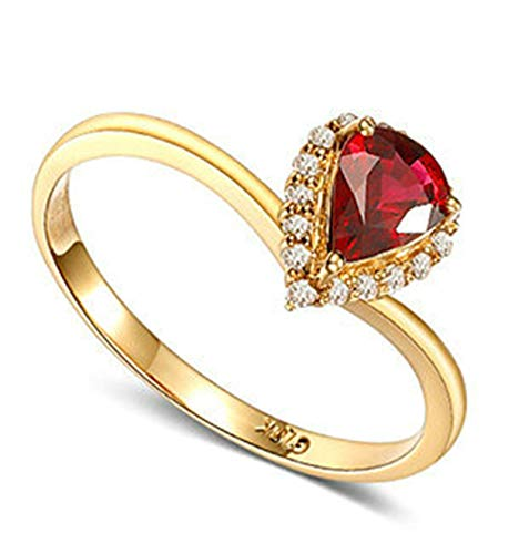 Rubyia Rings Rose Gold 18ct 0.66ct Rot Ruby Pear with Heart Size S½
