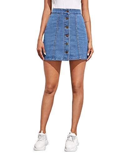 DIDK - Gonna da donna in jeans corto, a vita alta, con bottoni in denim gonna estiva Skirt Vintage casual azzurro S