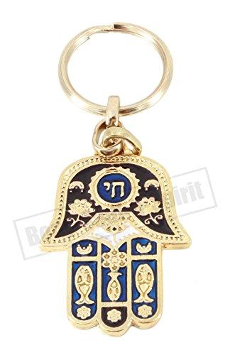 Chai - Colgante y llavero contra EVIL EYE Hebreo Hamsa Protección Kab