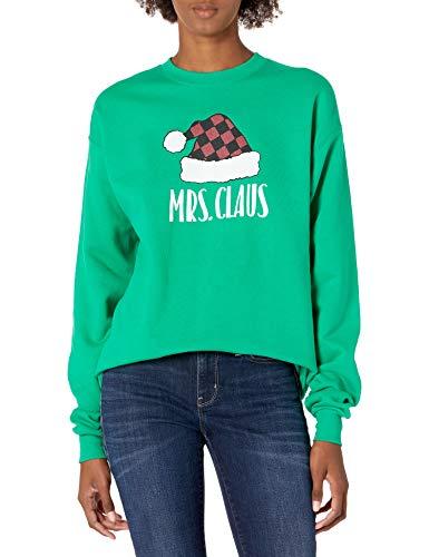 Hanes Women's Ugly Christmas Sweatshirt-Mrs. Claus, Kelly Green, XL