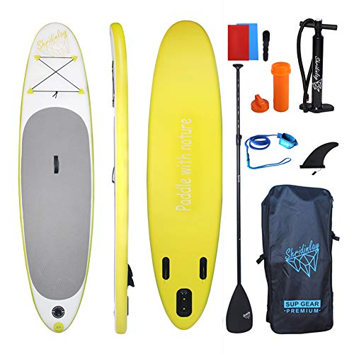 Shridinlay Inflatable Stand up Paddle Board, 4.7 inch Thick Non-Slip Deck with Free Premium SUP Accessories & Backpack for Beginner and Professional (Yellow)