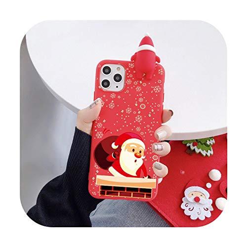 Linda muñeca 3D de dibujos animados de Navidad de Papá Noel reno árbol suave teléfono caso para iPhone 11 Pro Max X XS XR 7 8 Plus SE 2020 cubierta regalo-F-para iPhone SE 2020