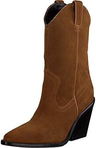 Bronx Stiefeletten Cognac Damen Chelsea Boots Wanderschuhe Stiefelette Boots Reitstiefel Stiefelette Overknee Stiefel Blockabsatz New-kolex Wildleder - 40 EU
