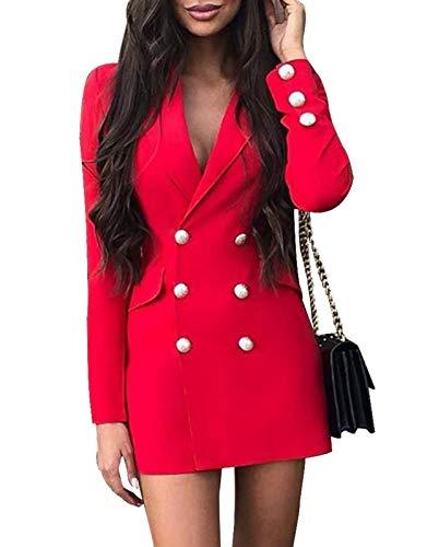Minetom Damen Blazer Kleid Frauen Elegant Langarm V-Ausschnitt Zweireihig Solide Hemdkleid Business Lange Hülse Büro Jacken Knopf Anzug Z4 Rot 34