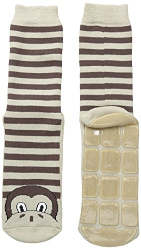 Country Kids Big Girls' Non-Skid Slipper Socks, Marcel The Monkey,9-11 years