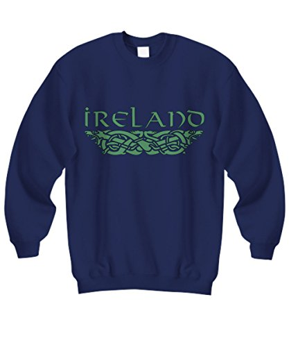 The Good Striker Men's and Women's Sweatshirt with Celtic Dog and Stylized Ireland Lettering. (X-Large, Navy Blue)