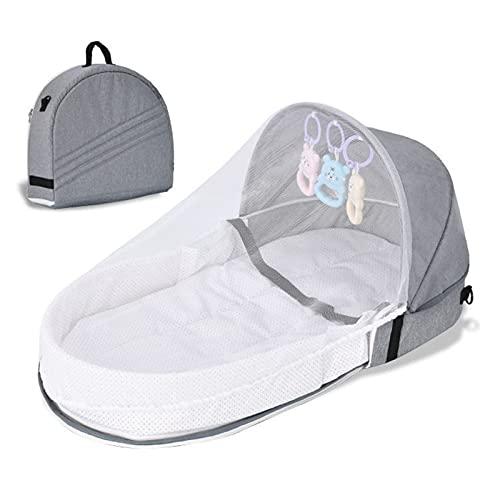 Biaogui Cama De Bebé Plegable, Cuna Portátil del Bebé del Bebé, Durmiente Infantil con Toldo Y Mosquitera, Fácil De Transportar Y Abrir,Gris