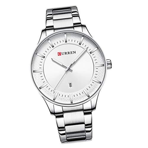 Bonarty Curren - Reloj analógico para hombre con calendario para hombre (49 mm), color blanco