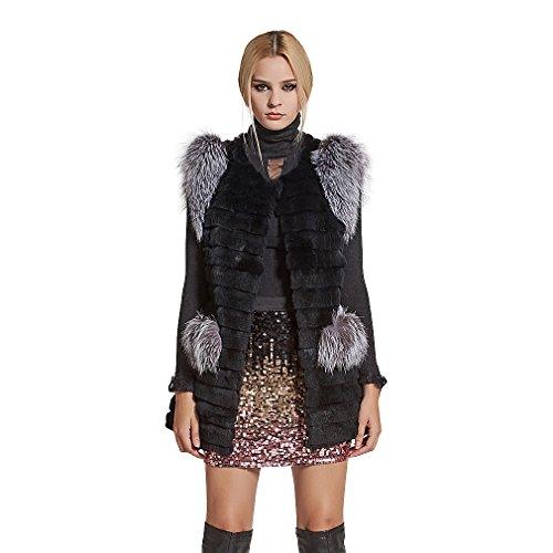 Women's Genuine Rabbit Fur Vest with Fox Fur Cuffs Winter Coat(Sleeveless,14)