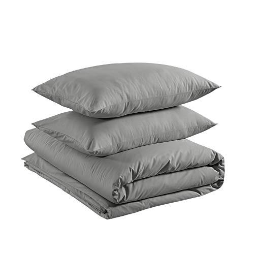 Amazon Basics - Juego de funda nórdica ligera de algodón - 260 x 220 cm / 50 x 80 cm, Gris ceniza