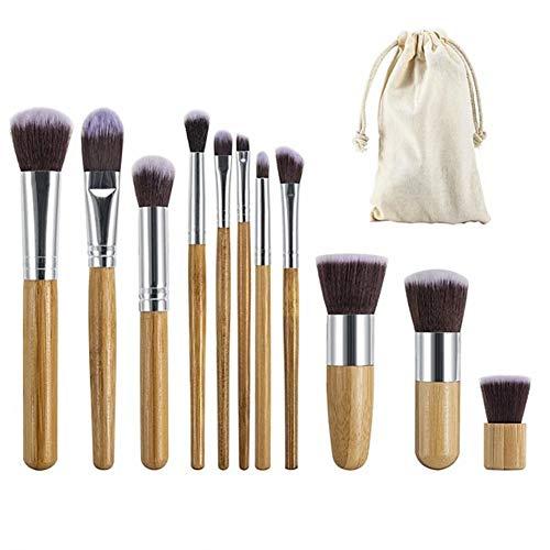 REGAL-HPQ 11pcs écologique Souple Professionnelle Pleine Couverture Bois Confortable/Bambou Set Outils de Maquillage pinceaux de Maquillage Brosse,11pcs