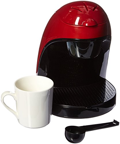 Brentwood TS-112R Coffee Maker with Ceramic Mug, Single Serve, Red