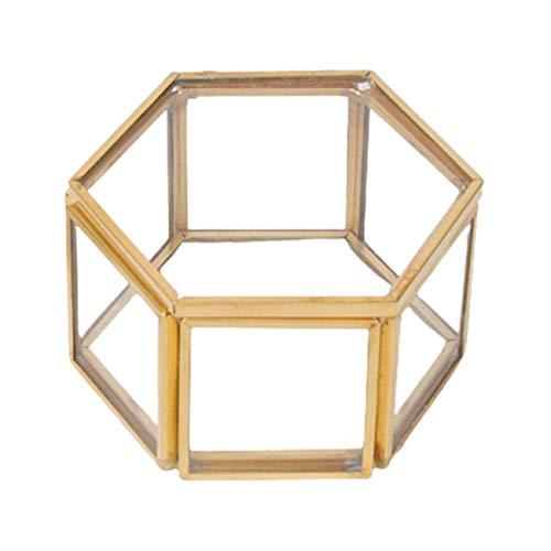 Uniqueheart Caja de contenedor de Vidrio Hexagonal Caja de Almacenamiento de joyería Multifuncional Anillo Pendiente Collar Caja de Almacenamiento Manija Tipo de Cadena - Dorado
