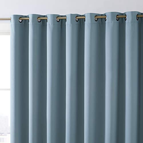 HLC.ME Dakota 100% Complete Full Blackout Thermal Insulated Window Curtain Grommet Panel for Sliding Glass Patio Doors - Energy Efficient, Complete Darkness, Noise Reducing (100 W x 84 L, Slate Blue)