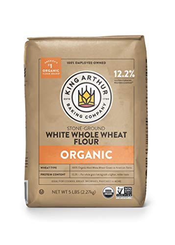 King Arthur, 100% Organic White Whole Wheat Flour, 100% Whole Grain, Non-GMO Project Verified, 5 Pounds (Pack of 6)