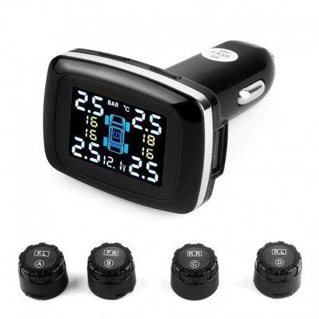 Datos en tiempo real del sistema - 4 sensores de monitoreo de presión de neumáticos, presión de los neumáticos, temperatura del