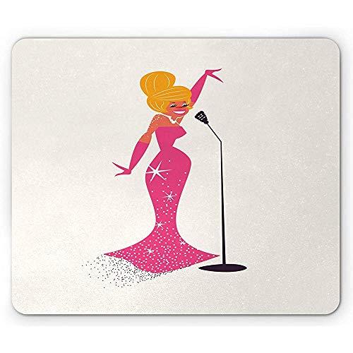 Mid Century Mouse Pad, Vrouwelijke Singer met Microfoon op Plain Art Print, Antislip Rubber Mousepad, 25x30cm Ivoor Roze en Oranje