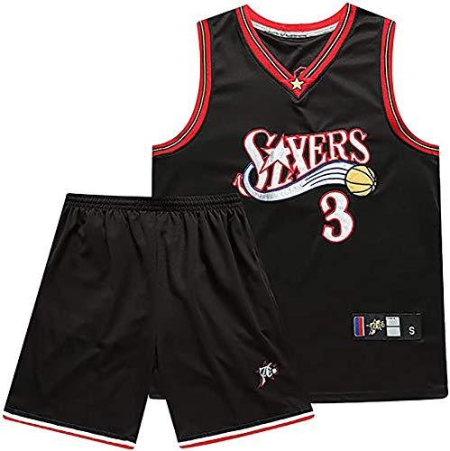 BCVDF Tuta da Allenamento da Basket da Uomo, 76ers Allers Iverson n. 3, Canotta + Pantaloncini Edizione 10 ° Anniversario, Maglia da Gioco Reale, Il miglior Regalo S Black
