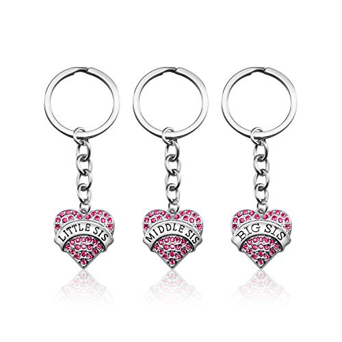 3PCS Big Sis Middle Sis Little Sis Crystal Pink Heart Pendant Sister Keychain Jewelry Sister Gifts from Sister