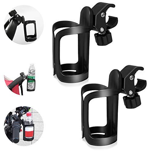 2 STK Fahrrad Getränkehalter, 360 Grad Rotation Getränk Flaschenhalter Kinderwagen Becherhalter Cup Halter für Fahrräder, Mountainbikes, Kinderwagen und Rollstuhl, Einfache Montage
