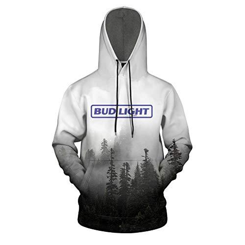 3D Printed Galaxy Fleece Hooded Sweatshirt for Men Bud-Light-Beer- Pullover Hoodie Sweater