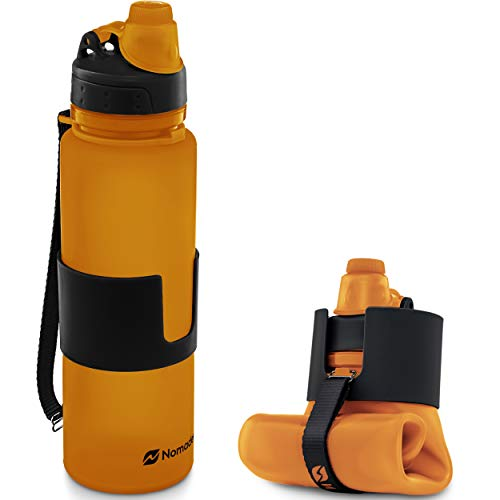 Nomader Collapsible Water Bottle - Foldable with Reusable Leak-Proof Twist Cap for Travel Hiking Camping Sports Outdoors and Gym - BPA-Free 650 mL (Orange)