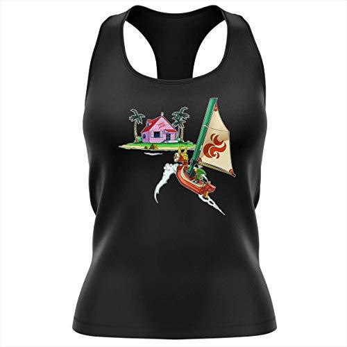 Débardeur Femme Noir Parodie Dragon Ball Z - Zelda - Link et la Kame House - La découverte d'une Nouvelle île. (Débardeur de qualité Premium de Taille S - imprimé en France)