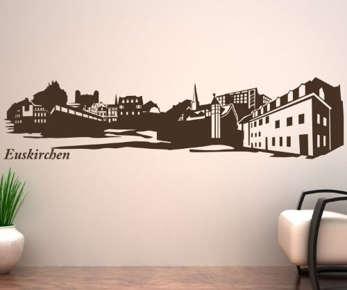 Wandtattoo Skyline Euskirchen XXL Wand Aufkleber City Deutschland Stadt 1M165, Farbe:Schwarz Matt;Länge des Motives:120cm