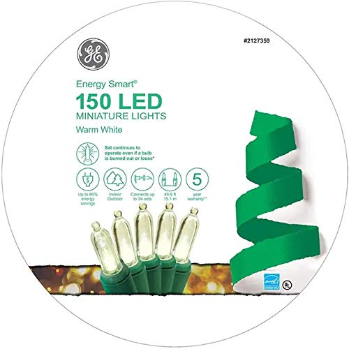 GE Energy Smart 150-Count 49.6-ft Warm White LED ConstantON 5.5-MM Colorite Plug-in Christmas String Lights