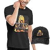 Thimd Camiseta de Manga Corta para Hombre,Gorra de béisbol Combinación Negro Alison Krauss & Union Station T Shirt Washed Denim Baseball Dad Cap Black