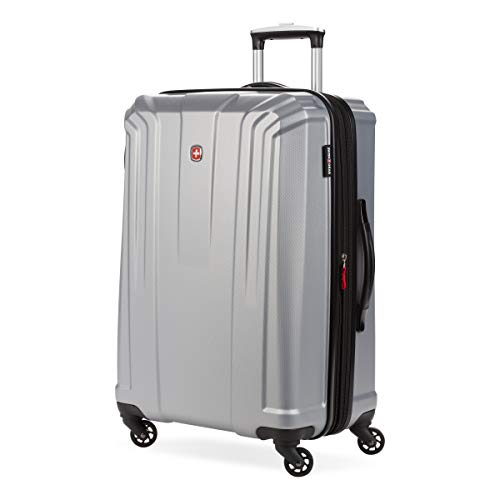 SwissGear 3750 Hardside Expandable Luggage with Spinner Wheels, Silver, Checked-Medium 24-Inch