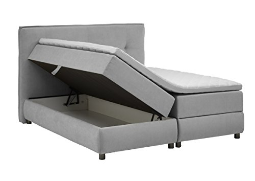 Atlantic Home Collection TILO Boxspringbett mit Bettkasten, 180x200 cm, Stoff, hellgrau, 180 x 200 cm