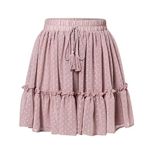 YYH Plissé-rok voor dames, casual stippen, ruches voor de zomer, rok met A-lijn, hoge taille, geplooide korte rok met bloemenprint chiffon strandrok Large roze