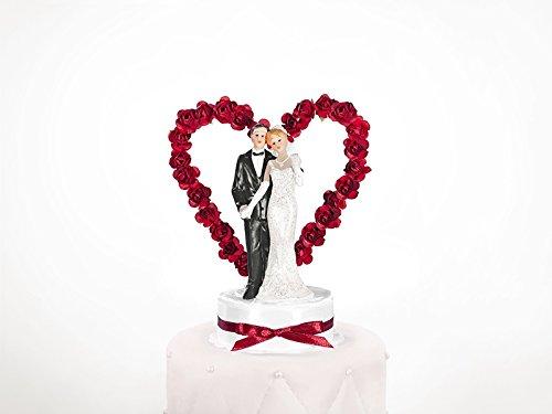 PartyDeco Statuina Coppia di Sposi con Cuore e Rose, Cake Topper, Bianco e Nero, 15 cm