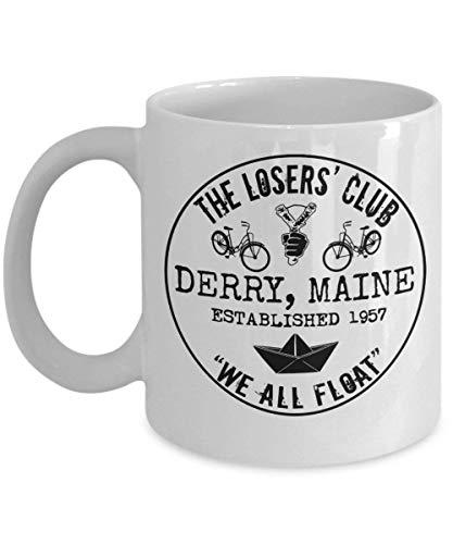 N\A The Losers 'Club We All Float Stephen King It Taza de café Taza (Blanco) 11 oz Stephen King Clown It Derry Maine Regalo Merchandise Accesorios Calcomanía