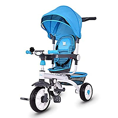 Costzon 4-in-1 Kids Tricycle Steer Stroller Toy Bike w/Canopy Basket by Costzon