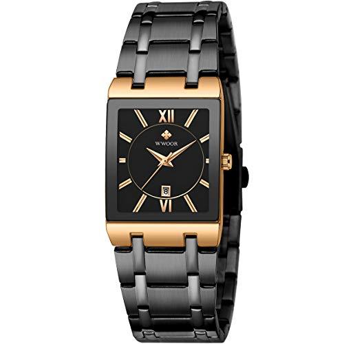 WWOOR Neueste Armbanduhr Herren Chronograph Quarz Uhr Business Schwarz Zifferblatt Uhren mit Edelstahl Mesh Band Wasserdicht