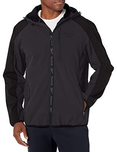 Reebok Mens 100% Poly Woven 600MM PU Coated WR Jacket Ropa de abrigo, Carbón/Negro, XXL para Hombre