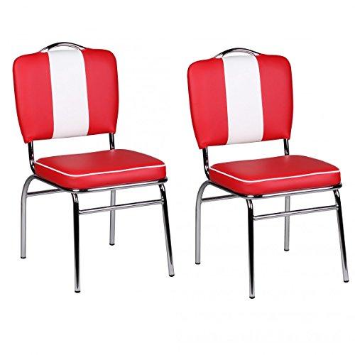 FineBuy 2er Set Esszimmerstühle King American Diner 50er Jahre Retro 2 Stühle | Sitzfläche gepolstert mit Rücken-Lehne | Essstuhl Doppelpack Sitzhöhe 76 cm | Farbe Rot Weiß