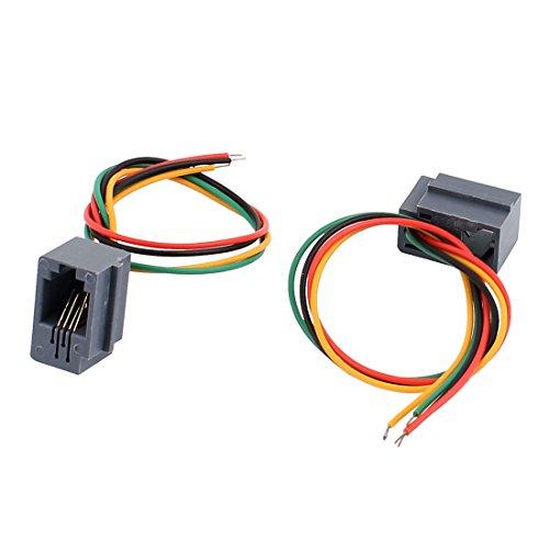 uxcell モジュラーコネクタ 4P4C RJ9電話ケーブル 616E グレー 緑 赤 黄 黒 2個入り