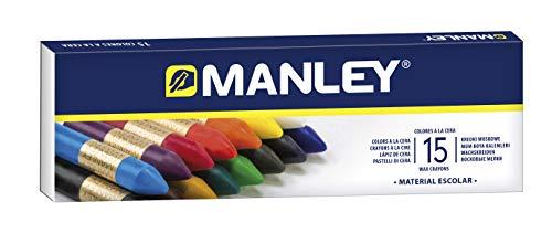 Ceras Manley 15 Unidades - Caja de Cera Profesional y Ceras para Niños - Ceras de Colores para Material Escolar - Blandas, Fabricacion Artesanal, Amplia Gama de Colores