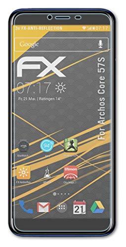 atFolix Panzerfolie kompatibel mit Archos Core 57S Schutzfolie, entspiegelnde & stoßdämpfende FX Folie (3X)
