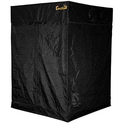Gorilla Grow Tent | Complete Heavy-Duty 1680D Reflective Hydroponic Grow 5-Foot by 5-Foot Tent for Growing Indoor Plants with Free 1-Foot Height Extension Kit, Windows, Floor Tray