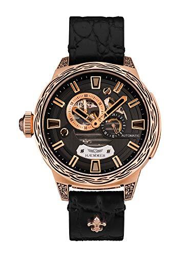 HÆMMER Deep Dreams Skeleton Automatikuhr Damen aus roségoldbeschichtetem Edelstahl   Damenuhr mit Kalbsleder Armband   Luxus-Uhr mit Inkgraved veredeltem Gehäuse
