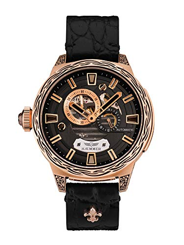 HÆMMER Deep Dreams Skeleton Automatikuhr Damen aus roségoldbeschichtetem Edelstahl | Damenuhr mit Kalbsleder Armband | Luxus-Uhr mit Inkgraved veredeltem Gehäuse