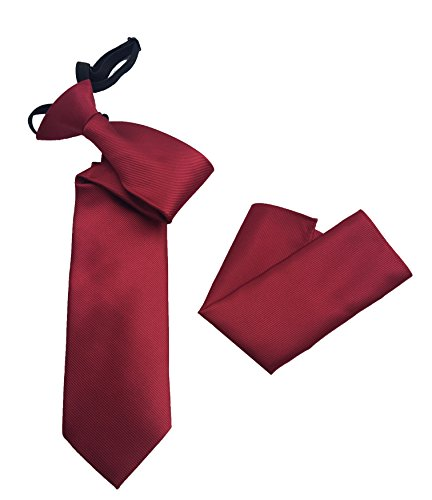 Pietro Baldini gebundene Krawatte in diversen Farben mit Einstecktuch - elegantes Rippen Finish - krawatte fertig gebunden (Rot)