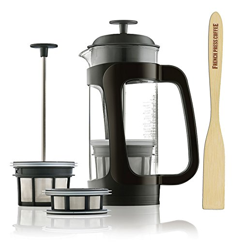 Espro P3, Glass French Press Coffee Maker (6-8 cups, 32 ounce) Thick and Durable Glass Carafe, Coffee Micro-Filter, Bundle with Handcrafted Coffee Paddle, 1 tbs. Coffee Scoop