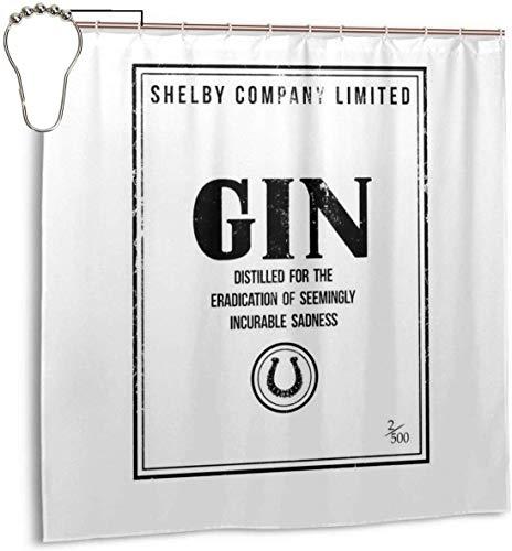 Lucky girlfriend Wasserdichtes Polyestergewebe Duschvorhang Shelby Company Limited Gin Label Peaky Blinders Drucken Dekorative Bad Vorhang mit Haken, 72 '' X 72